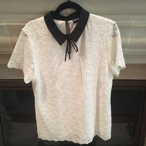 Karl Lagerfeld Collared Short Sleeve Lace Blouse